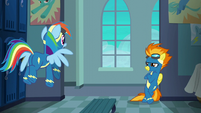 Rainbow Dash flying up to Spitfire S6E7