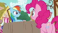 Rainbow Dash grinning at happy Pinkie Pie S7E23