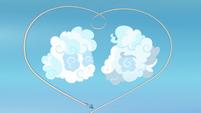 Rainbow makes heart-shaped rainbow around cloud sculptures S7E7