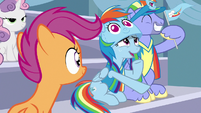 Scootaloo watching Bow and Windy cheer S7E7