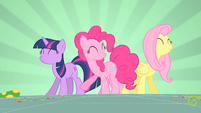 Twilight, Pinkie and Fluttershy dancing S1E25