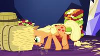 Applejack pushing bale of hay S5E3