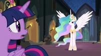 Princess Celestia begins to speak to Nightmare Moon S4E02