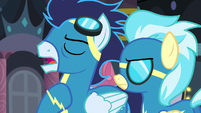 """Soarin """"if you can prove that somepony else is behind Spitfire's disappearance"""" S5E15"""