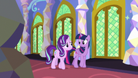 Starlight and Twilight walk together in the castle S7E24