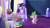 Twilight and Spike hear Sludge enter S8E24