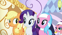 Applejack, Rarity, and Aloe look at each other S6E10