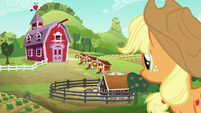 Applejack looks at the new and improved Sweet Apple Acres S6E10