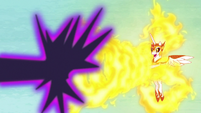 Daybreaker repels Nightmare Moon's magic with flames S7E10