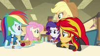 Fluttershy's friends look at her EG2