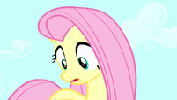 Fluttershy looks down at giant Angel S5E13