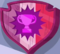 Purple starburst with a pink trophy inside on a red, pink, and purple shield