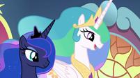 "Princess Celestia ""after much consideration"" S9E1"