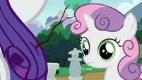 Sweetie Belle notices a stick in Rarity's mane S7E6