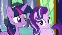 Twilight and Starlight looking optimistic S8E2