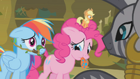 Zecora looking at remorseful Pinkie and Rainbow S1E09