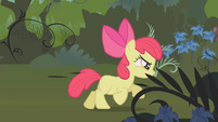 Apple Bloom running through the Everfree Forest S1E09