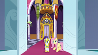 Fluttershy and Rarity enter throne room S9E4