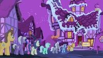 Line of ponies outside Sugarcube Corner S4E14