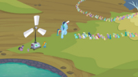 Rainbow Dash telling the pegasi S2E22