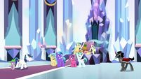Shining Armor and ponies glare at Sombra S9E1