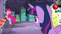 Twilight trying to talk to Pinkie Pie S9E26