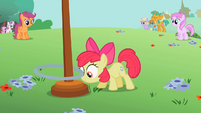 Apple Bloom about to flick the hoop up S2E06
