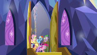 Mane Six and Spike burst out of the castle S9E26