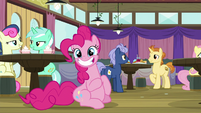 Pinkie Pie grins with a full stomach S9E16