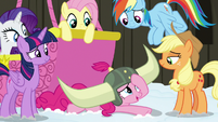 Pinkie Pie looking embarrassed at her friends S7E11