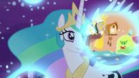 Princess Celestia observes Discord's dream S7E10