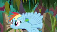 Rainbow propels the raft with her wings S8E17