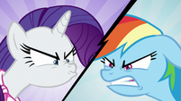 Rarity and Rainbow sneer at each other S8E17