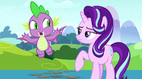 Spike shouts goodbye to all the Mane Six S8E15