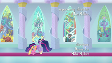 Twilight and Luster pass by stained glass windows S9E26.png