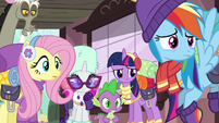 Twilight and friends confused by Pinkie's words S6E17