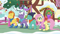 Fluttershy and stallions walking through town MLPBGE