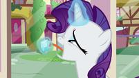 Rarity nervously licking a gem S9E19