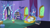 Spike sleeping soundly in his castle bedroom S5E7