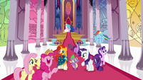 Twilight Sparkle and friends leaving the throne room S7E25