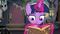 Twilight reads Meadowbrook's journals while annoyed S7E20