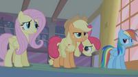 Applejack recounting how Apple Bloom saw Zecora entering Ponyville S1E09