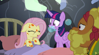 Fluttershy coughing up more bubbles S7E20