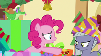 Pinkie gives crushed gift box to Limestone MLPBGE