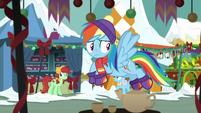 Rainbow Dash flying through marketplace MLPBGE