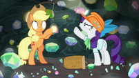 Rarity pointing at the cave ceiling S9E19