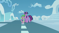 Spike puts the scroll in his backpack S5E25