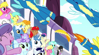 Wonderbolts fly over the cheering crowd S8E18