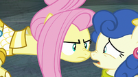 Fluttershy gets in Blueberry Curls' face S8E4