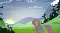 Fluttershy slowly follows Twilight as the sun sets S5E23